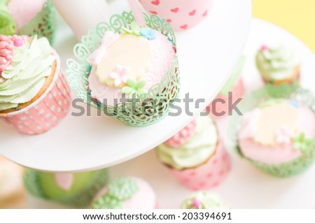 set of delicious homemade sweets on the plate - stock photo