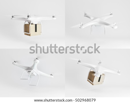 Set of delivery drones with post package for use in presentations, education manuals, design, etc. 3D rendering