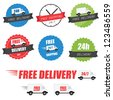 Set of delivery labels and badges - stock vector