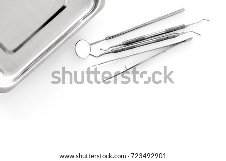 set dentists tools near cuvette on stock photo edit now 723492901