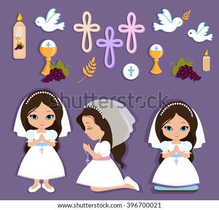 Set of design elements for First Communion for girls. - stock photo
