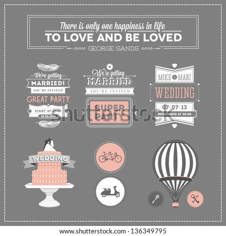 Set of design elements for wedding - stock photo