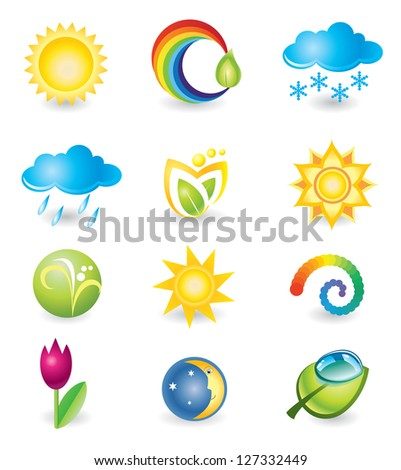 Set of design elements. Nature and weather - stock photo