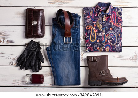 Set of design menswear. Exclusive mens clothing. - stock photo