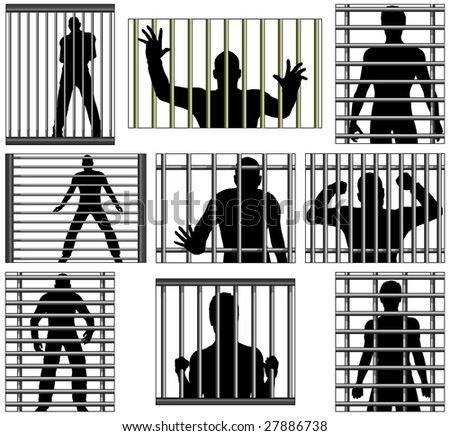Set of  designs of men behind prison bars. Vector file also available. - stock photo