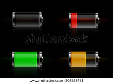 Set of detailed glossy transparent battery level indicator icons. Battery energy concept. Raster version - stock photo