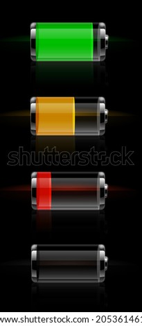 Set of detailed glossy transparent battery level indicator icons. Raster version - stock photo
