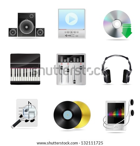 set of detailed musical icons - stock photo