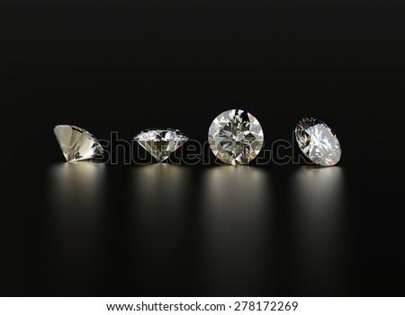 Set of Diamond round shape. Jewelry background - stock photo