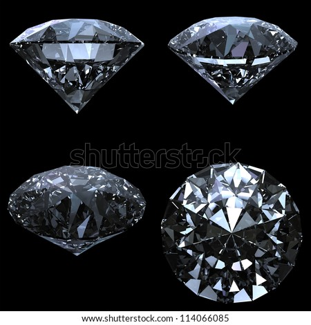 Set of 4 diamonds with clipping path - stock photo
