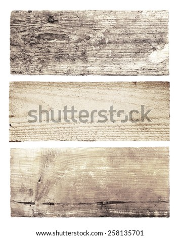 Set of diferent grunge wooden boards isolated on white background, top view - stock photo