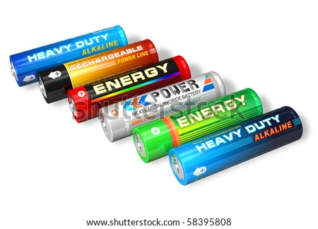 Set of different AA batteries - stock photo