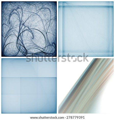 Set of different abstract square fractals isolated on a white background. Raster graphic patterns - stock photo