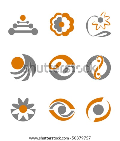 Set of different abstract symbols for design - also as emblem or logo template. Vector version is available - stock photo
