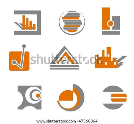 Set of different abstract symbols for design or logo template. Vector  version is also available - stock photo