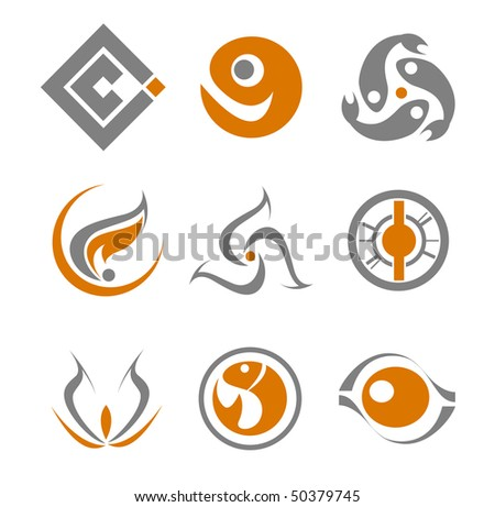 Set of different abstract symbols for design or logo template. Vector version is available