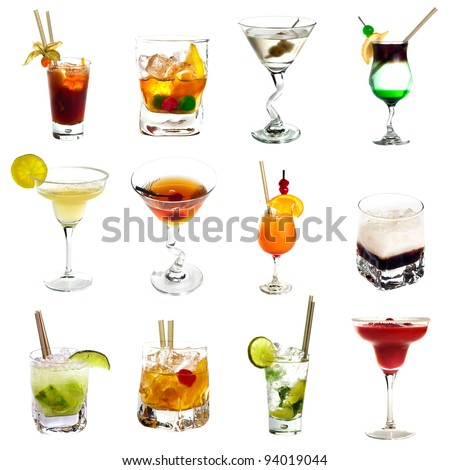 Set of different alcoholic cocktails isolated on white background