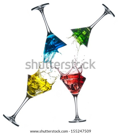 Set of different alcoholic cocktails - martini - stock photo