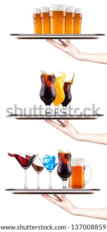 Set of different alcoholic drinks and cocktails - beer, martini, soda, champagne, whiskey, wine, cola, coke, cocktail - stock photo