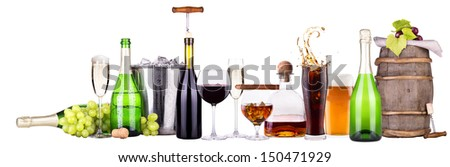 Set of different alcoholic drinks and food - beer,martini,grapes,burger,champagne,whiskey,wine,cola,cocktail - stock photo