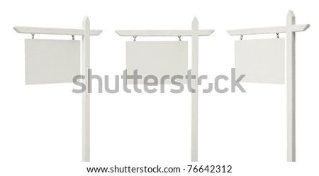 Set of 3 Different Angled Blank Real Estate Signs Isolated on a White Background - XXXL. - stock photo