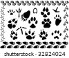 set of different animal and bird footsteps illustration - stock vector