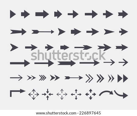 set of different  arrows isolated on white background - stock photo