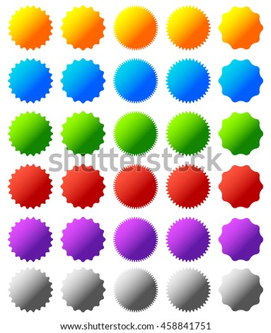 Set of different badge, button shapes, background in 6 colors