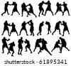 Set of different boxing silhouettes - stock vector
