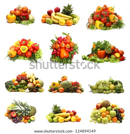 Set of different bright and tasty fruits and vegetables isolated on white background - stock photo