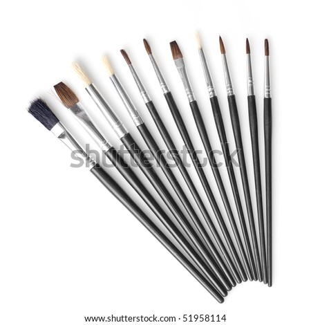Set of different brushes isolated on white - stock photo