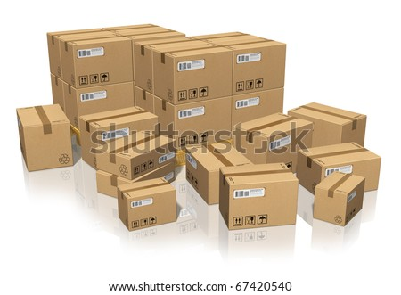 Set of different cardboard boxes - stock photo