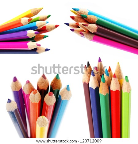 Set of different color pencils isolated on white collage