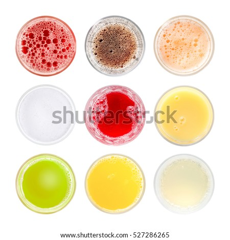 Set of different colored cold drinks. Top view, isolated on white