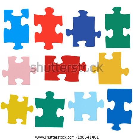 set of different colored puzzle pieces isolated on white background - stock photo