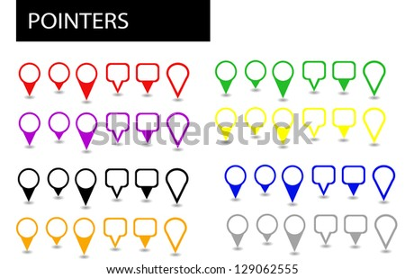Set of different colors and shapes positioning pointers and markers - stock photo