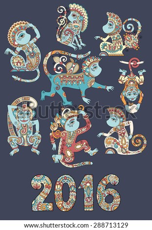 set of different colors decorative monkey - chinese symbol 2016 lunar new years and inscription  for poster, greeting card, celebration design or web decoration, raster version illustration - stock photo