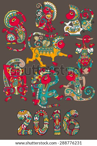 set of different colors decorative monkey - chinese symbol 2016 lunar new years and inscription, you can use for poster, greeting card, celebration design, web decoration, raster version illustration - stock photo