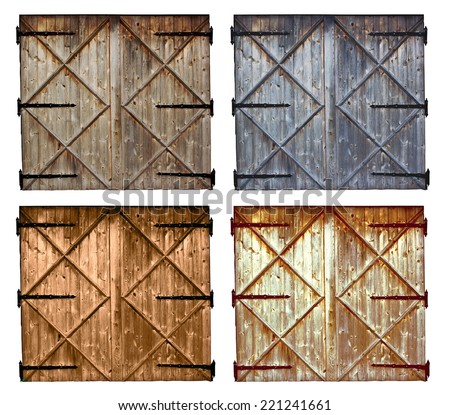 set of different colors old barn wooden door isolated on white background - stock photo