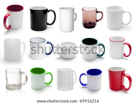set of different cups isolated on a white background - stock photo