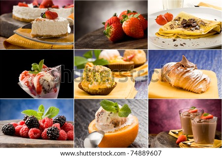 set of different dessert photos arranged together into a collage - stock photo