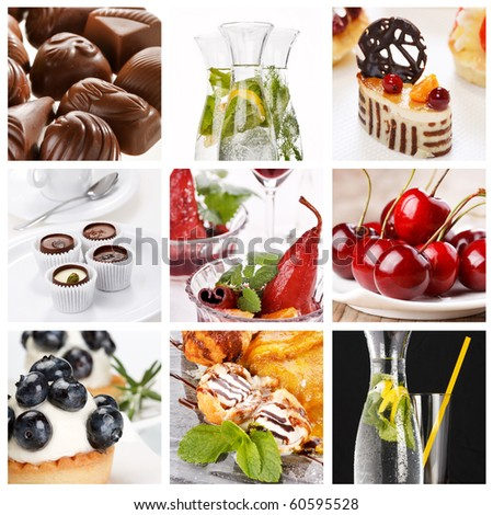 set of different desserts - stock photo