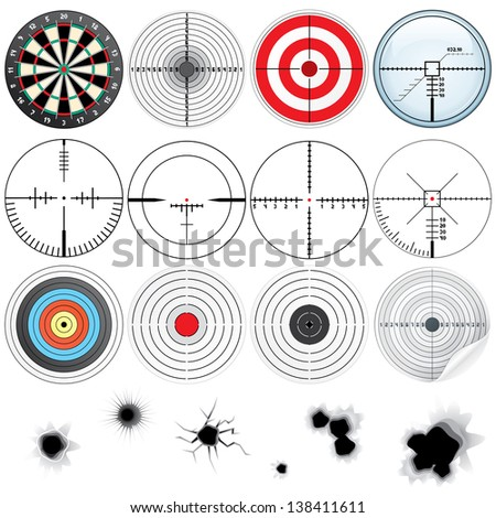 Set of Different Detailed Cross hairs and Targets. - stock photo