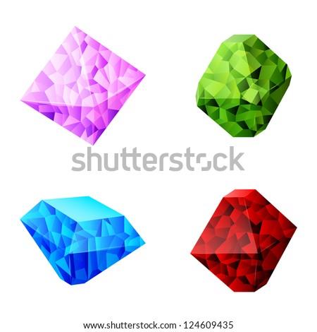 set of different diamonds - stock photo