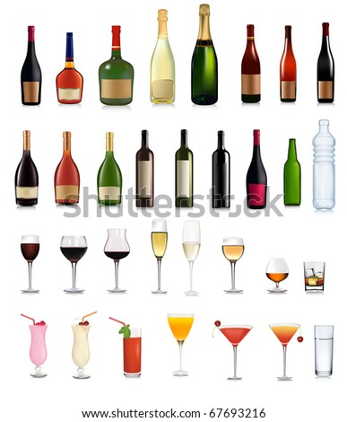 Set of different drinks and cocktails.  Raster version of vector. - stock photo