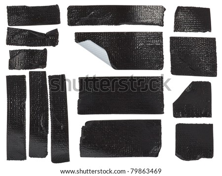 Set of different duct tape pieces isolated on white - stock photo