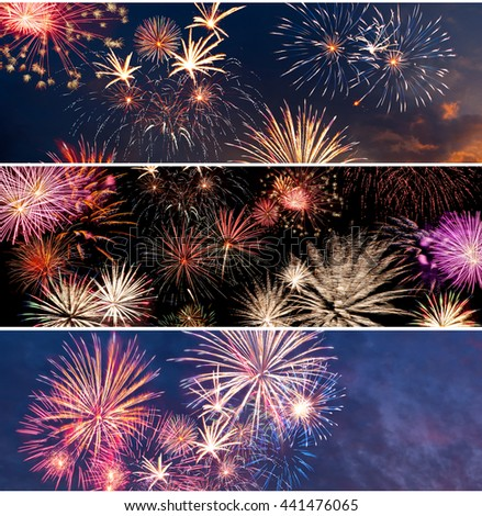 Set of different fireworks for New Year and Independence day