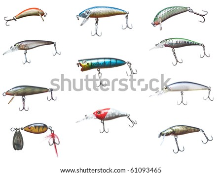 Set of different fishing bait wobbler, isolated on white. - stock photo