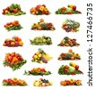 Set of different fruits and vegetables isolated on white - stock photo