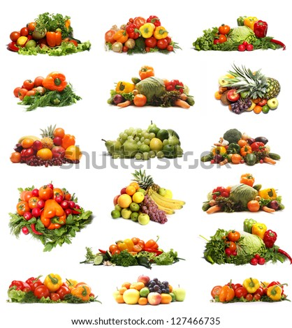 Set of different fruits and vegetables isolated on white